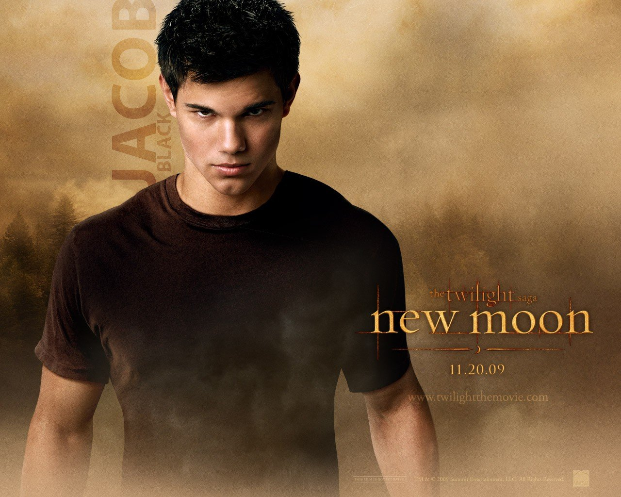 Un wallpaper ufficiale dedicato al personaggio di Jacob Black (Taylor Lautner) per il film Twilight Saga: New Moon