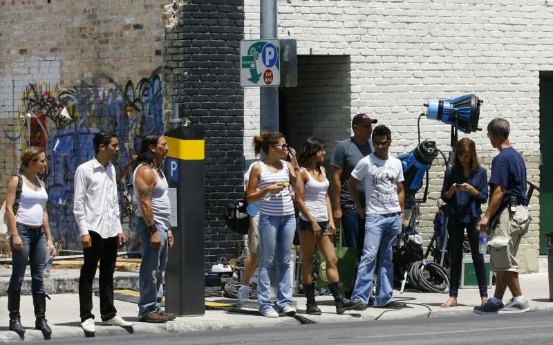Foto di gruppo sul set di Machete di Robert Rodriguez