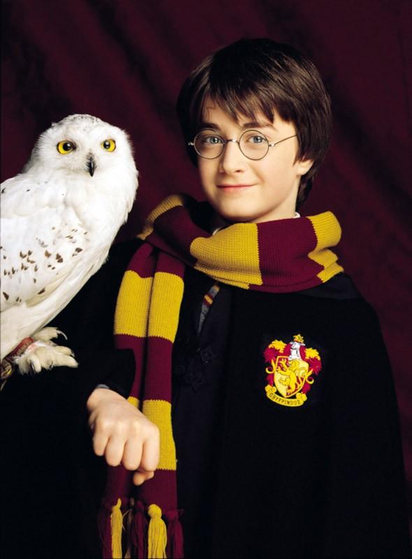 Harry Potter (Daniel Radcliffe) con la sua civetta Edvige per il film Harry Potter e la Pietra Filosofale