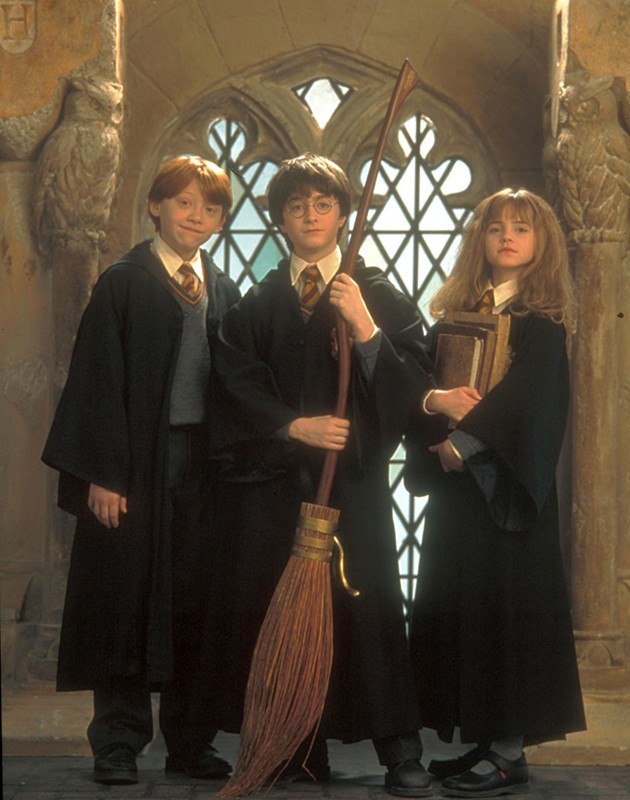 Il trio di maghetti protagonisti del film Harry Potter e la pietra filosofale