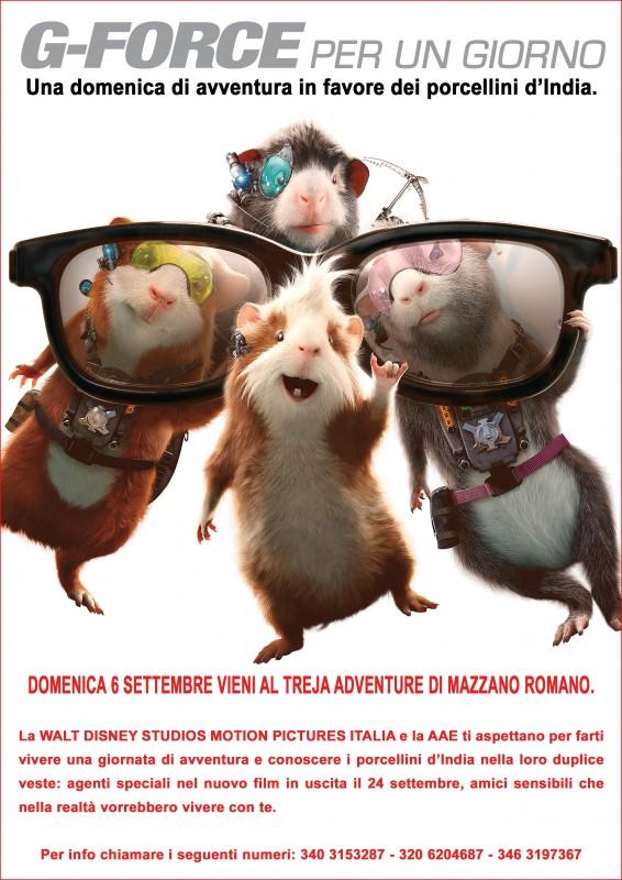 La locandina di un'avventurosa giornata dedicata ai porcellini d'India, al film G-Force e a tutti i bambini che amano l'avventura.
