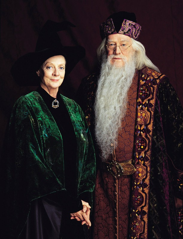 Maggie Smith (Professoressa McGranitt) e Richard Harris (Albus Silente) per il film Harry Potter e la pietra filosofale