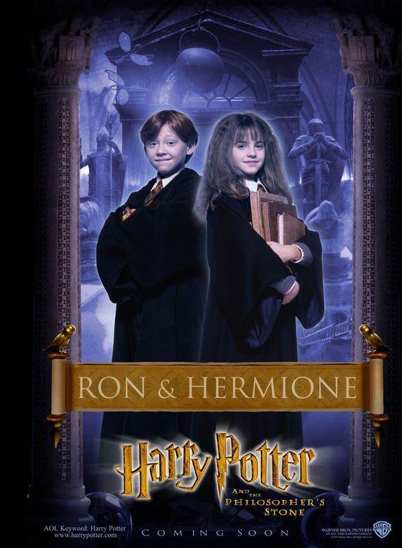 Un character poster dedicato a Ron ed Hermone per il film Harry Potter e la Pietra Filosofale