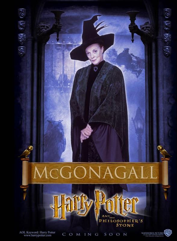 Un character poster dedicato alla Professoressa McGranitt per il film Harry Potter e la Pietra Filosofale