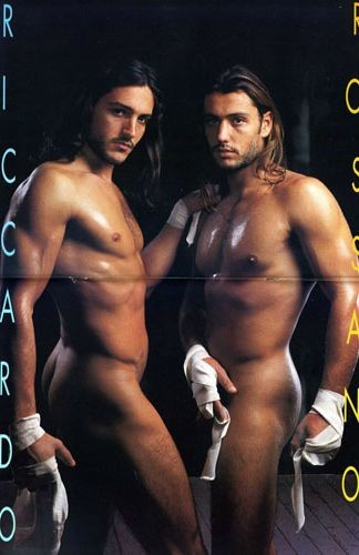 Una foto  di Rossano e Riccardo Rubicondi apparsa sul magazine 'Adam' negli anni '90.