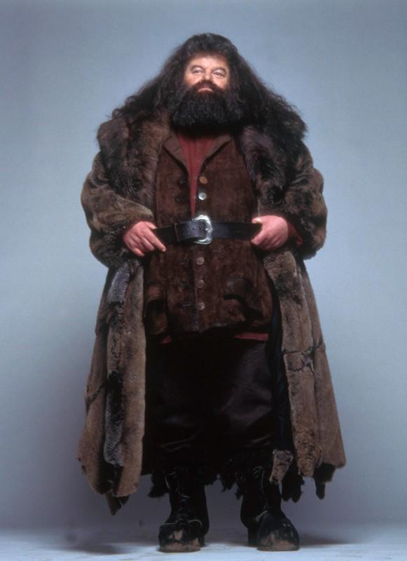 Una foto promo di Rubeus Hagrid (Robbie Coltrane) per il film Harry Potter e la Pietra Filosofale