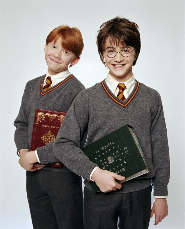 Una foto promo di Rupert Grint e Daniel Radcliffe per il film Harry Potter e la Pietra Filosofale