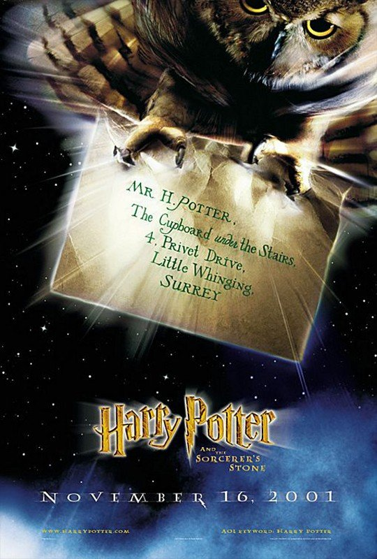 Una locandina americana per il film Harry Potter e la pietra filosofale