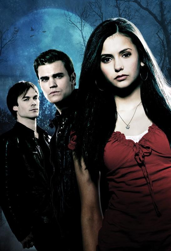 Il trio Protagonista in una foto promozionale della serie tv The Vampire Diaries