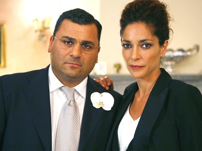 Sergio Friscia nel ruolo del boss Nardo Abate e Simona Cavallari sul set di Squadra Antimafia