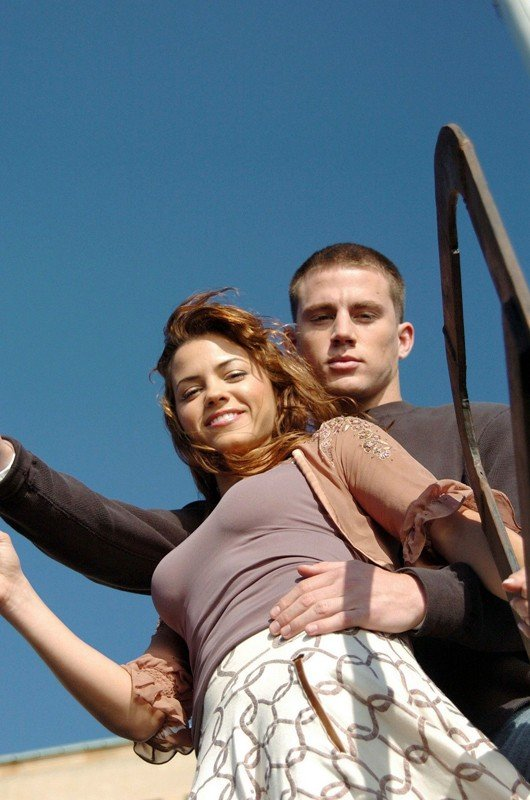 Una foto di Channing Tatum e Jenna Dewan sul set del film Step Up