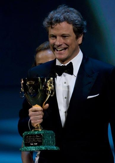Venezia 2009: Colin Firth riceve la Coppa Volpi per la sua interpretazione in A Single Man