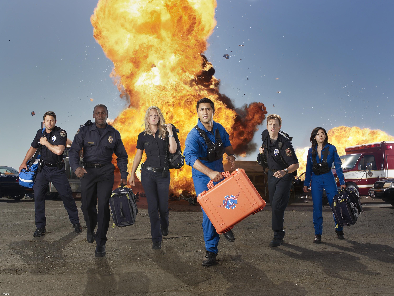 Un wallpaper del cast della serie TV Trauma