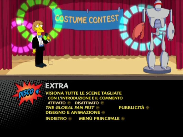 Il menu dei contenuti extra del disco 4 della stagione 12 de I Simpson