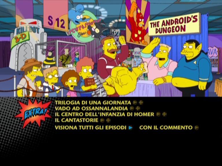 Il menu principale del disco 4 della stagione 12 de I Simpson