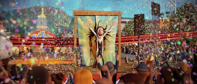 Una sequenza del film d'animazione Piovono polpette