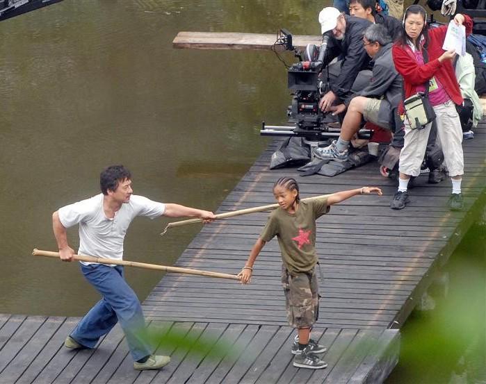 Jaden Smith e Jackie Chan sul set di Kung Fu Kid, remake di Karate Kid