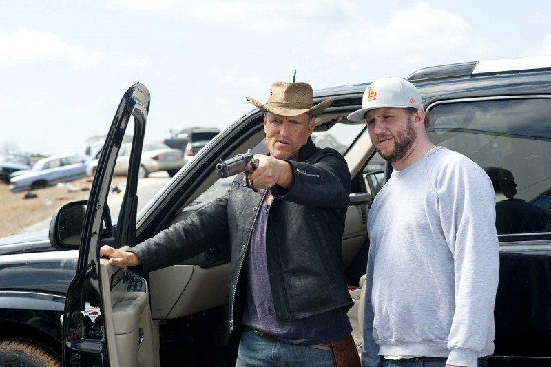 Woody Harrelson e il regista Ruben Fleischer sul set del film Zombieland