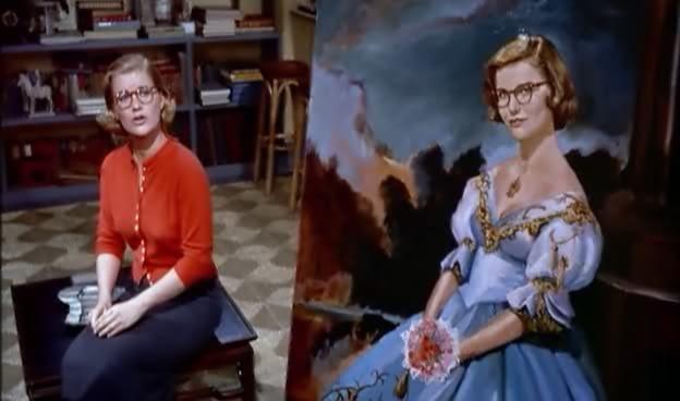 Barbara Bel Geddes e il suo autoritratto nel film La donna che visse due volte (1958 )