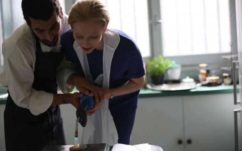 Edoardo Gabbriellini e Tilda Swinton in una scena del film Io sono l'amore