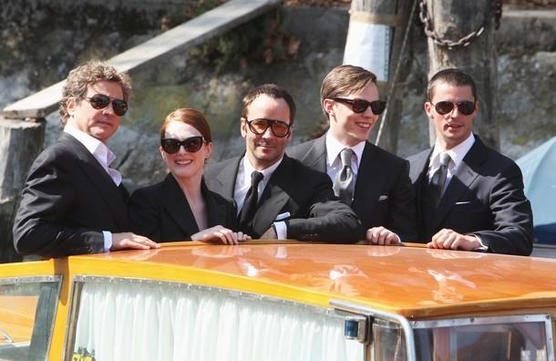 Il cast e il regista di A Single Man all\'arrivo alla 66esima Mostra del Cinema di Venezia.