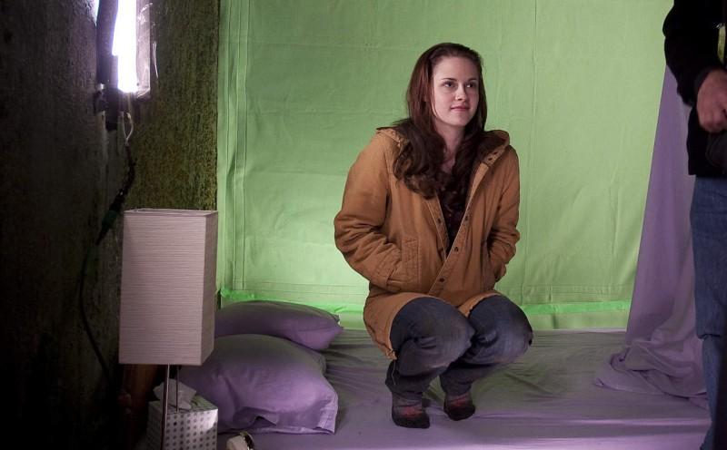 Kristen Stewart sul set di New Moon, secondo capitolo della saga di Twilight.