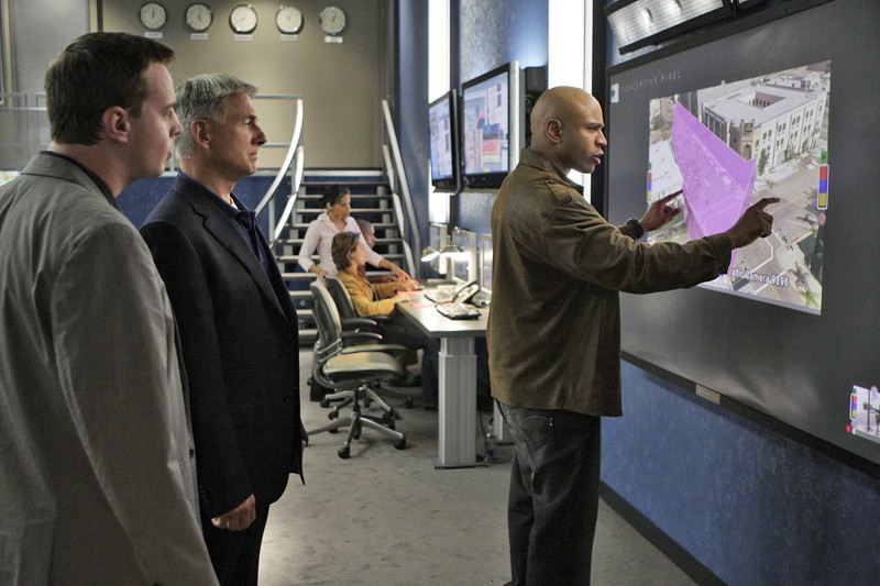 Sean Murray, Mark Harmon e LL Cool J nell'episodio 'Legend: Part 1' della serie tv Navy NCIS