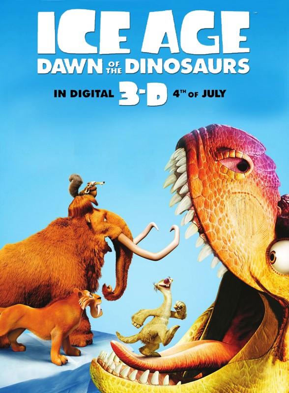 Il poster americano del film d'animazione Ice Age 3 - Dawn of the Dinosaurs