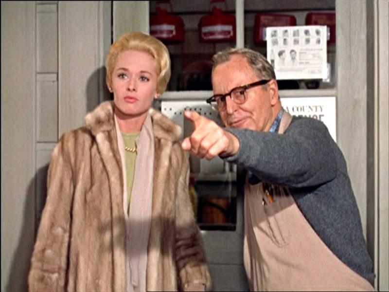 Tippi Hedren e John McGovern in una scena del film Gli uccelli ( 1963 )