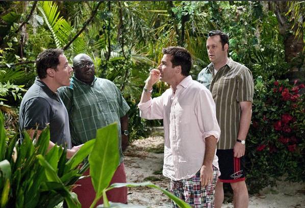 Faizon Love, Jason Bateman, Vince Vaughn e Jon Favreau in una scena de L'isola delle coppie (Couples Retreat, 2009)