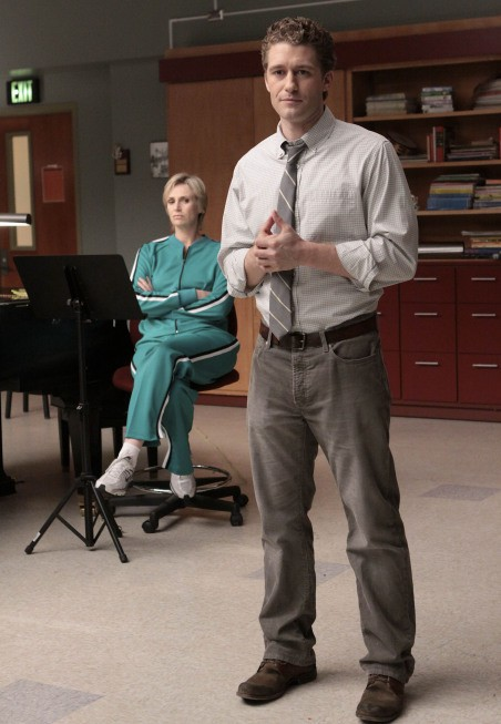Jane Lynch e Matthew Morrison nell'episodio Takedown della serie Glee