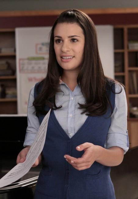 Lea Michele in una scena dell'episodio Preggers della serie Glee