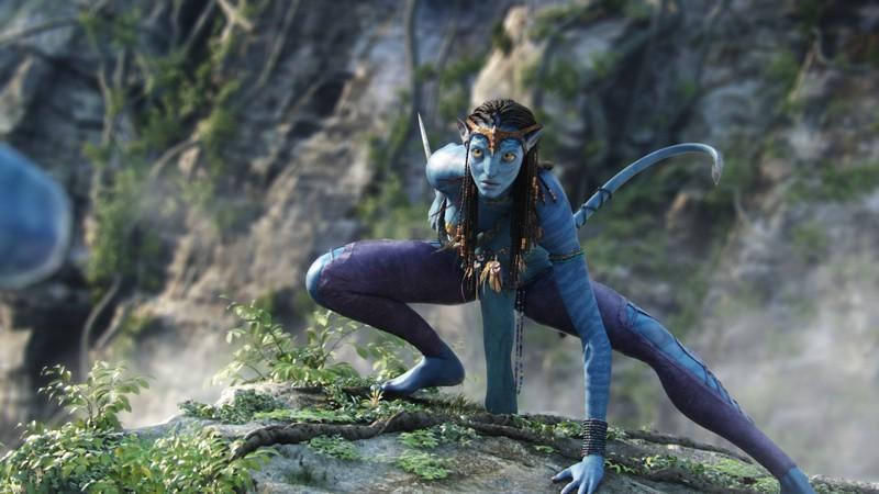 Neytiri, del clan dei Na'vi in una sequenza del film kolossal di James Cameron, Avatar