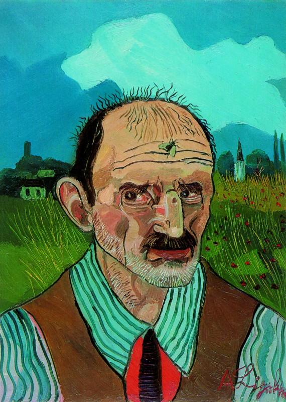 Un autoritratto del pittore Antonio Ligabue (1889 - 1965)