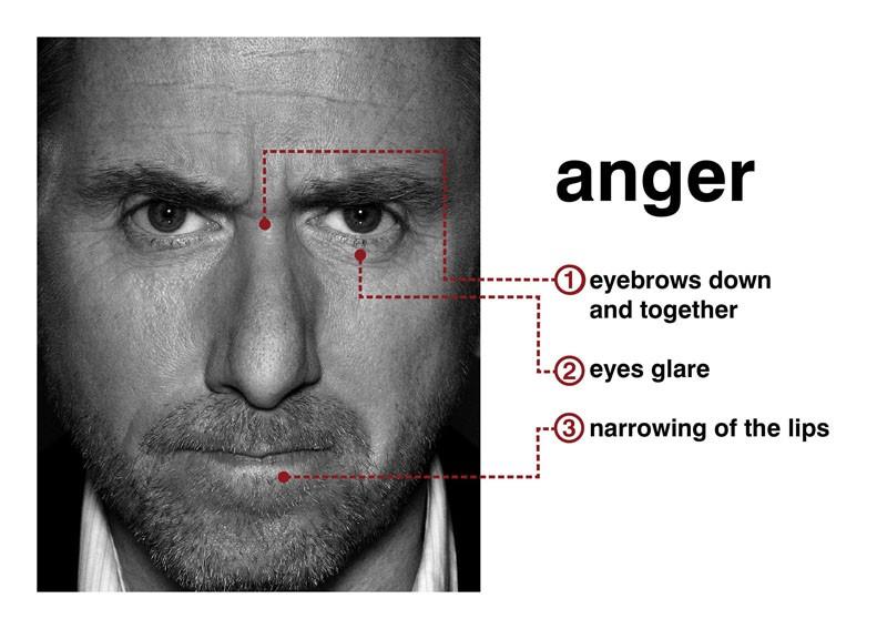 Tim Roth mostra il sentimento della 'rabbia' con l'espressione del viso per la serie Lie to Me