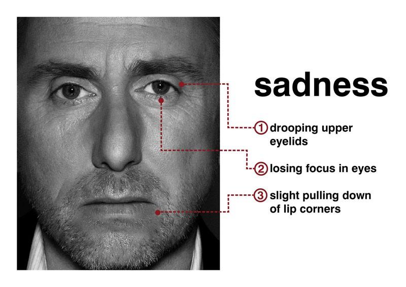 Tim Roth mostra il sentimento della 'tristezza' con l'espressione del viso per la serie Lie to Me