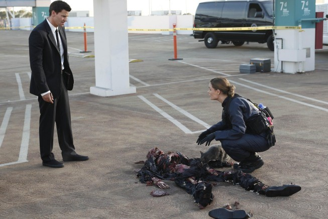 Emily Deschanel e David Boreanaz nell'episodio The Bond In The Boot della serie Bones