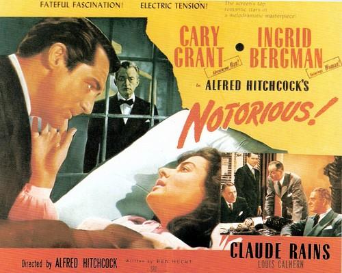 Lobbycard promozionale del film Notorious - L\'amante perduta di Alfred Hitchcock.