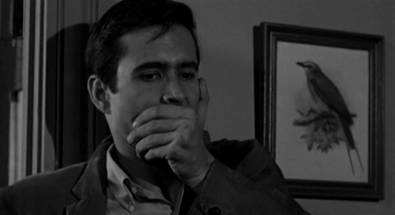 Anthony Perkins in una scena del film Psycho ( 1960 ) di A. Hitchcock