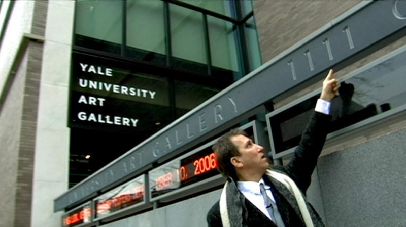 Una scena del documentario Con Artist incentrato su Mark Kostabi