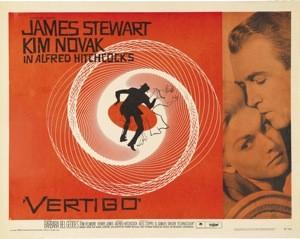James Stewart e Kim Novak in una lobbycard promo del film La donna che visse due volte