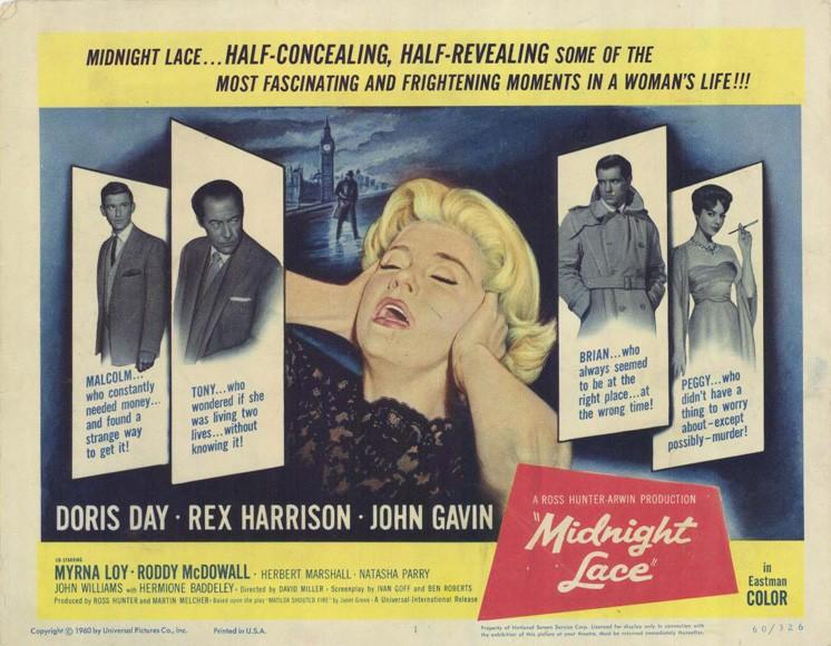 Lobbycard promozionale del film Merletto di mezzanotte ( 1960 )