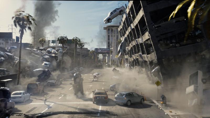La spettacolare immagine di un crollo nel film 2012, di Roland Emmerich