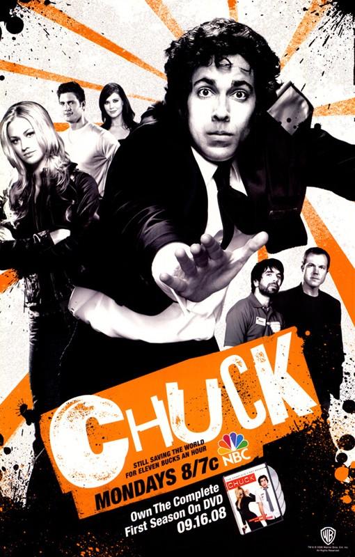 Un manifesto pubblicitario della First Season in dvd di Chuck