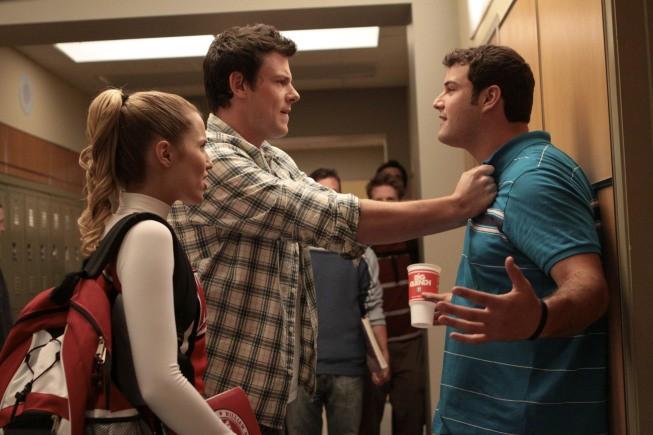 Dianna Agron e Cory Monteith in un momento dell'episodio Mash-Up della serie Glee