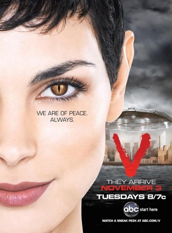 Un poster della serie V, remake di Visitors