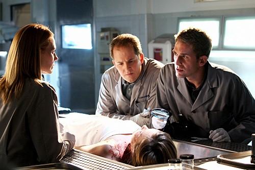 Marg Helgenberger, David Berman ed Eric Szmanda in una scena dell'episodio The Lost Girl di CSI