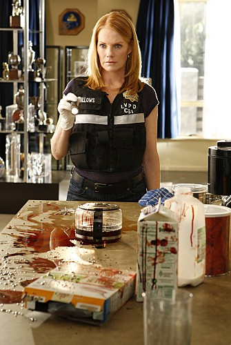 Marg Helgenberger in una scena dell'episodio Bloodsport della serie CSI