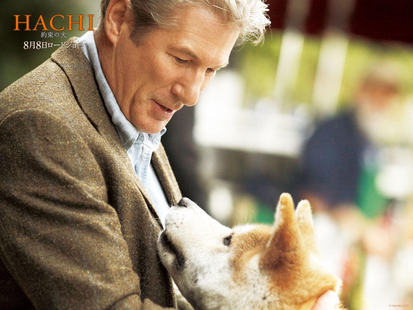 Un wallpaper del film Hachiko: A Dog's Story, con Richard Gere