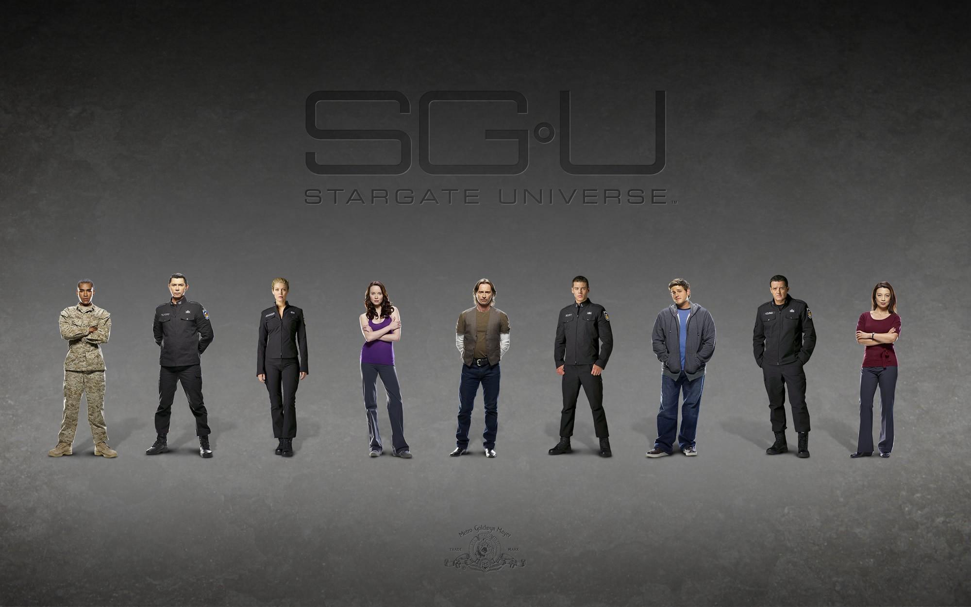 Un wallpaper con il cast principale di Stargate Universe